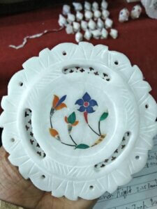 white marble inlaid plate handicraft gift item for export