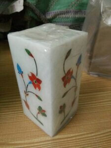 white marble inlaid handicraft product