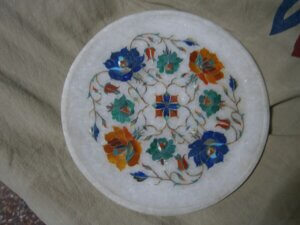 10 inches marble inlay plate