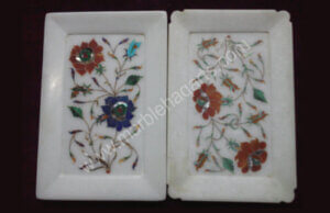 rectangular shaped 10 inches marble inlay plates