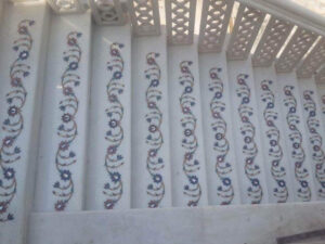 marble inlay work on stairs