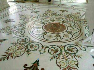 marble inlay flooring work in european style