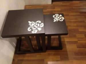 white mop Inlay work on wooden tabletop