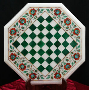 green stones marble inlay chess game