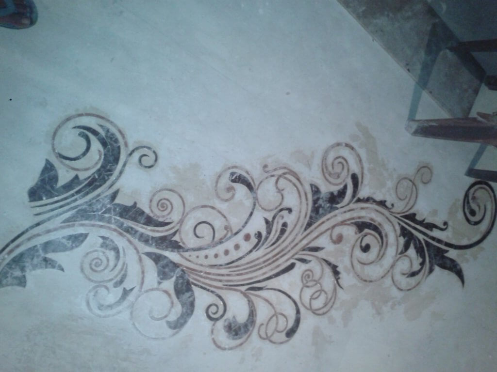 beautiful floral design in floor