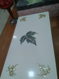 leaf pattern MOP inlay work design on tabletop