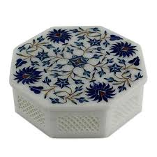 heavily inlaid marble handicraft jewellry box