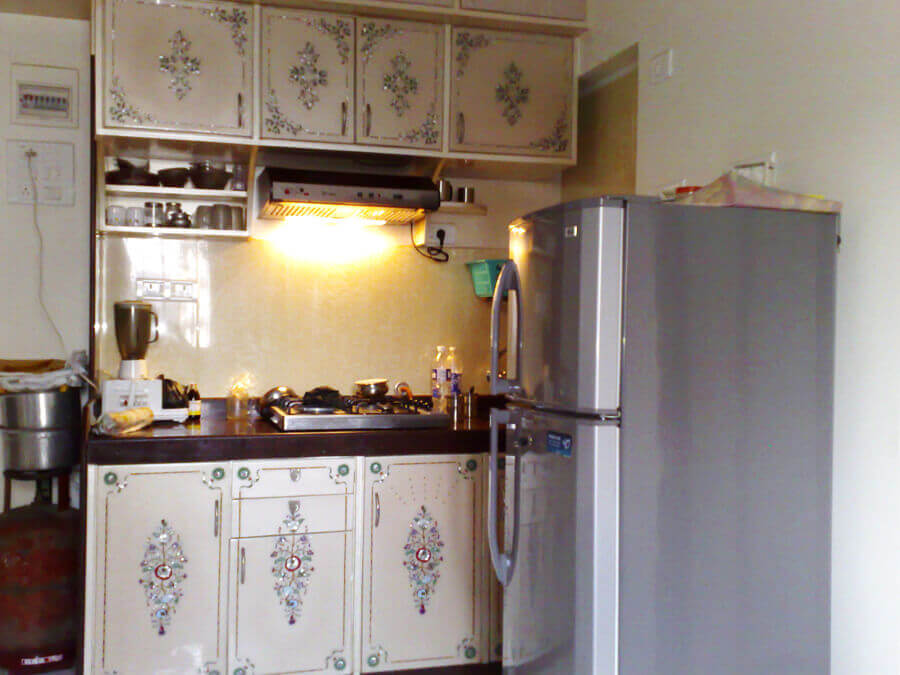 mother of pearl inlay work in kitchen
