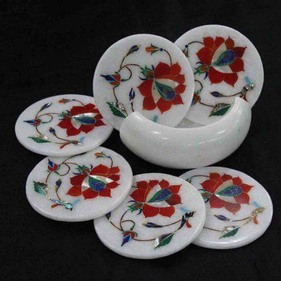 marble handicraft inlay coaster set