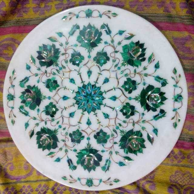 beautiful malachite inlay plate