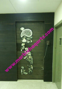 Pure White And Green Abalone MOP Wooden Inlaid Door