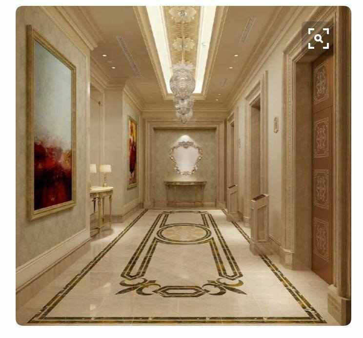 Marble inlay work border design in hall