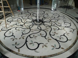 center marble inlay flooring design for hall